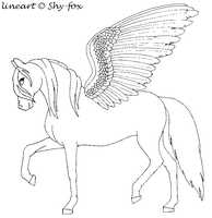 pegasus lineart by shy-fox