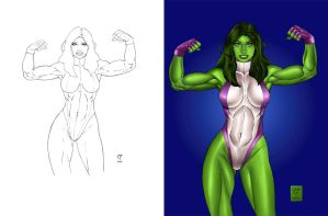 SHE HULK_PUMPED_ IRON_COLORED by daikkenaurora