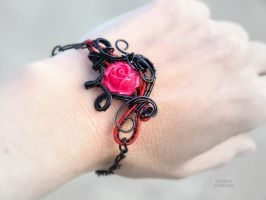 Goth bracelet with red rose - ooak by IanirasArtifacts