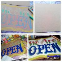 We Are Open Sign - Customized Signage by lilmeowsy