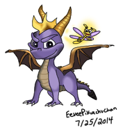 Classic Spyro and Sparx by EeveePikachuChan