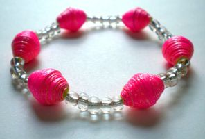 Bright Sparkly Pink Paper Bead Bracelet by Fallingfreely