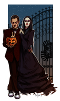Gomez and Morticia doodle by radu-rotten
