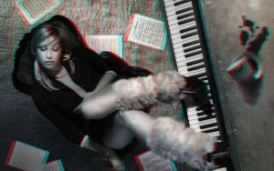 Lady At The Piano 3-D conversion by MVRamsey