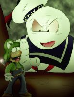 Luigi Battles Stay Puft by Rokku-D