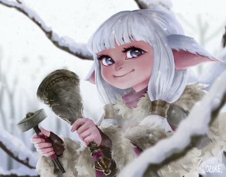 Snow Bunny Commission by Hozure