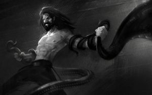Fighting Giant Tentacles by Kashivan