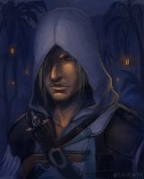 Edward Kenway - night at port by neylica