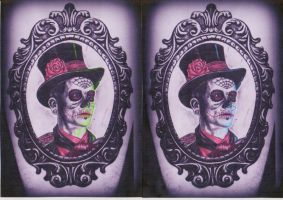 day of the dead Man in Frame tattoo deisgn by CalebSlabzzzGraham