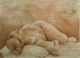Red reclining by ohdood