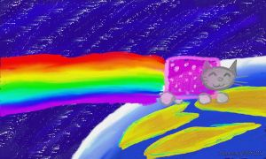 nyan cat, space, planet by morrisoran
