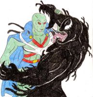 J'onn J'onzz vs Venom by Jose-Ramiro