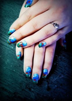 Poppy Fields Nail Art by Undomiele