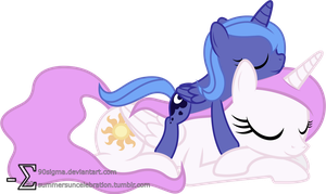 Princess Celestia and Princess Luna Sleeping (2) by 90Sigma