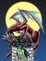 Dragon on the Tower Coloured by anapeig