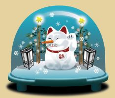 Lucky Cat in a Snowglobe by a1000bejezus