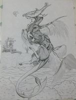 Space Dragon Full body uncoloured by Maszeattack