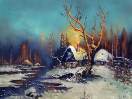 'Winter paysage with a hut' by ArtofOkan