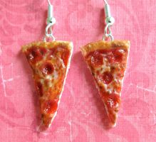 Pepperoni Pizza Earrings 2013 by LittleSweetDreams