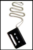 Black Acrylic Tape Necklace by cherryboop