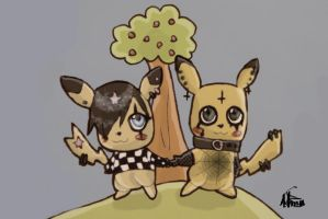 goth and emo pikachu love by MySweetQueen