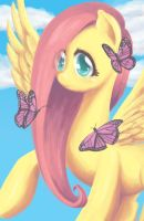 Fluttershy and Butterfly by Kangaeien