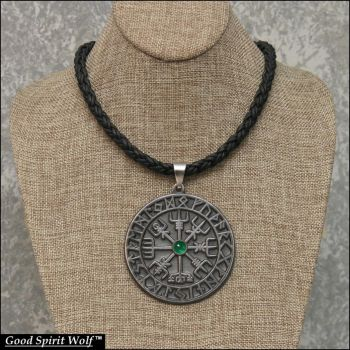 Large Viking Compass On Tribal Leather Cord by GoodSpiritWolf