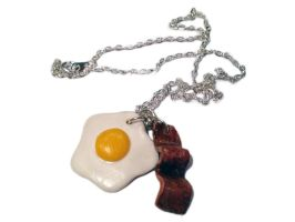 Bacon and Eggs Necklace/Charm by delectablycharming