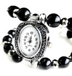 Silver Quartz Bracelet Watch -Black and Silver by crystaland