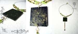 Green-gold painted by Tuile-jewellery