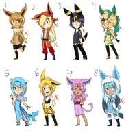 Eevee Evolutions Adoptables[CLOSED] by theHandmaid0