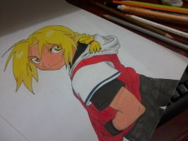 Edward Elric in pencil and pen. by ivairgonzaga