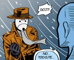 Rorschach faces Dr.Manhattan by Sibauchi