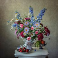 Still life with garden flowers and fruits by Daykiney