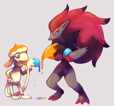 Pal and Palette by crayon-chewer