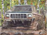 1978 Ford F150 Mudding In The Woods (Painting) by FastLaneIllustration