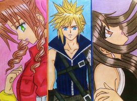 Aerith x Cloud x Tifa: Love Triangle by dagga19