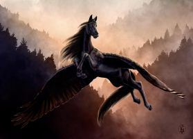 Black Pegasus by Skye-Fyre
