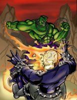 Hulk vs. Ghost Rider by Jrascoe