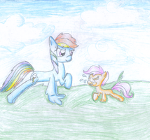 Rainbow Dash and Scootaloo sister quality time by Bewolkt