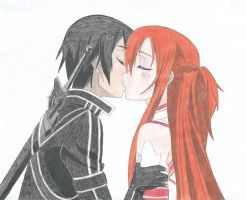 Kirito and Asuna kiss (Valentine's Day drawing) by Hahc3Shadow