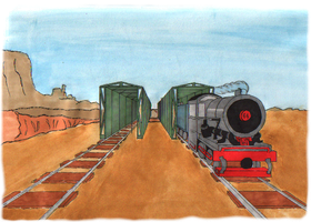 One Point Perspective - Desert Steam Ride by TheLamadude
