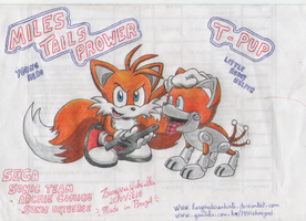 Miles Tails Prower and T-Pup by laryssadesenhista