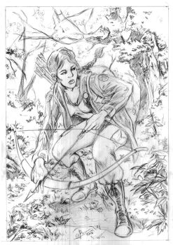 Katniss Everdeen of Hunger Games Pencil by JLRincon