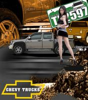 Chevy trucks and the Hot chic by Peerapat-Sema