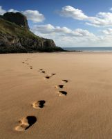 Footsteps on the beach by nectar666
