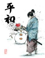 Samurai snow man by MyCKs