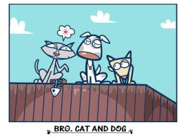 Brother cat and dog by jongart