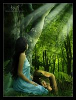 Luthien y Beren: Quiet Moment by EmberRoseArt