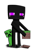 Enderman and Creeper chibi by 0GameGirlArtistNerd0